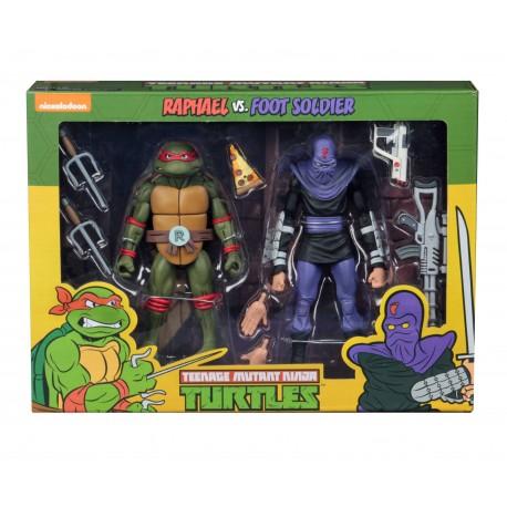 Teenage Mutant Ninja Turtles Actionfiguren Doppelpack Raphael vs Foot Soldier (18 cm)