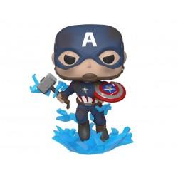Marvel Avengers Endgame POP! Movies Vinyl Figur Captain America with Broken Shield & Mjölnir (10 cm)